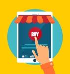 Business concept. Online shopping. Infographics background E-com